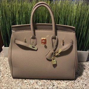 Taupe 35cm Handbag Satchel Birkin STYLE w/strap